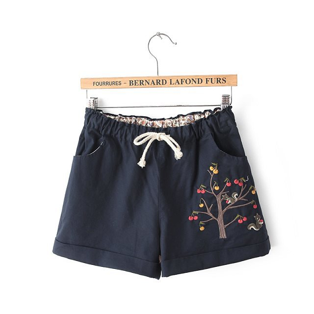 ZH09 New Fashion Women Cotton Elegant Squirrel Embroidery Drawstring casual brand design pocket shorts