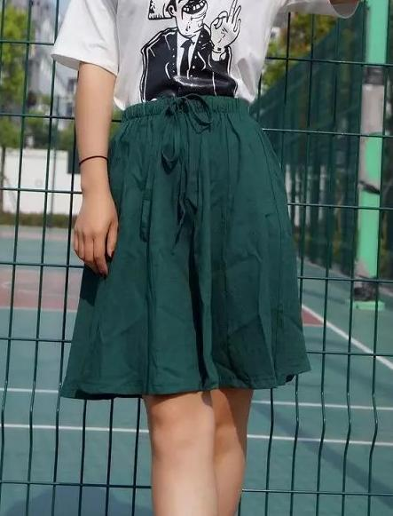 DSH04 New Fashion Women Vintage Linen Pleated Elastic Waist Tunic Drawstring Skirts Casual brand designer skirt