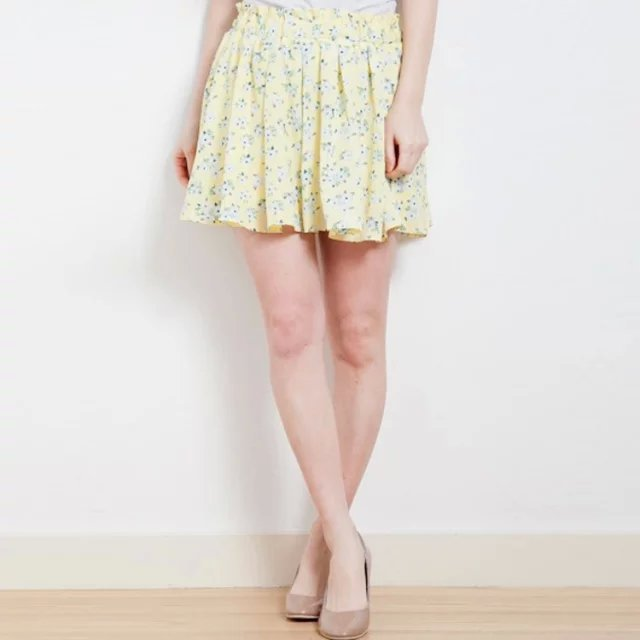 XYY12 Fashion Summer women sweet yellow small floral print shorts elastic waist casual slim brand shorts