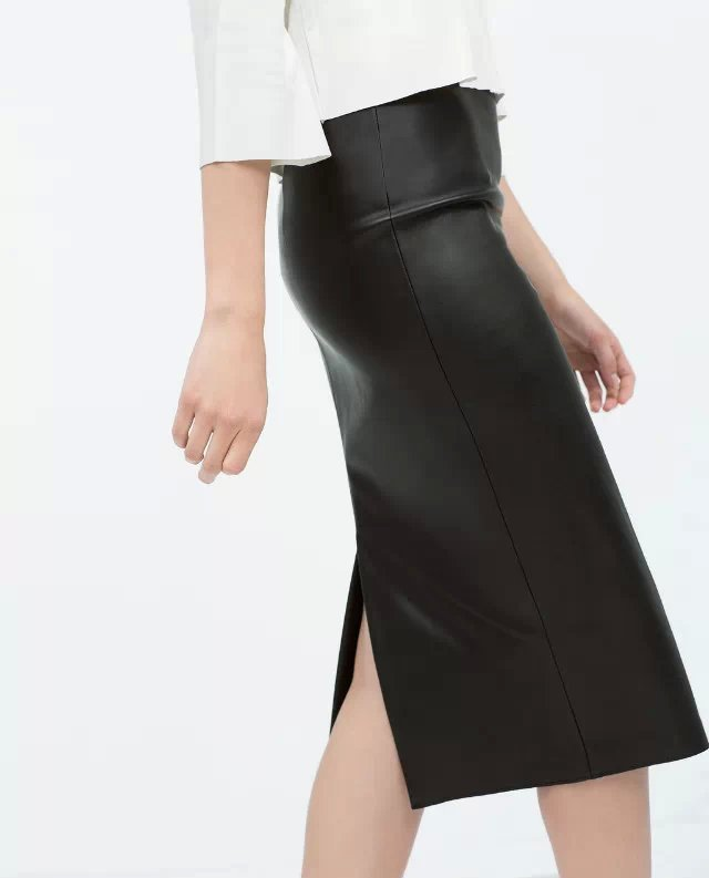 XZ14 Fashion Women black PU leather skirts vintage back split zipper elegant stylish causal Slim pencil skirt