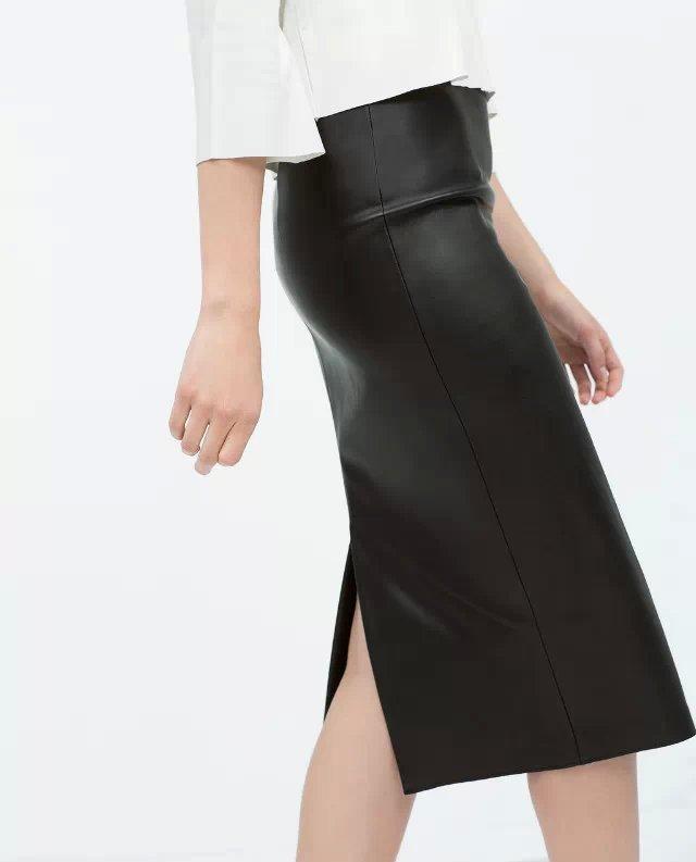 XZ14 Fashion Women black PU leather skirts vintage back split zipper elegant stylish causal Slim pencil skirt