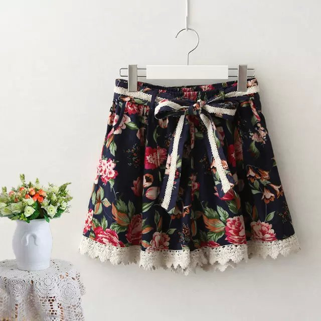 JIN17 Summer Fashion Ladies owl Floral Print bow tie waist elastic skirt shorts For Female casual Women short mujer