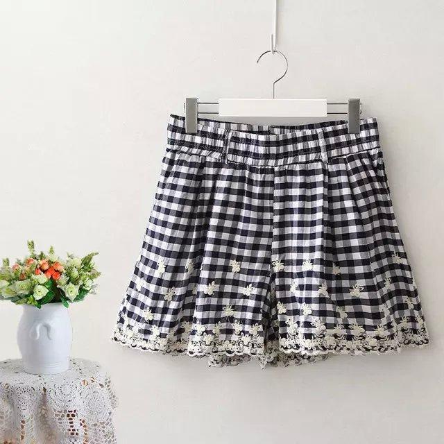 JIN26 Summer Fashion Plaid Print waist elastic Lace ...