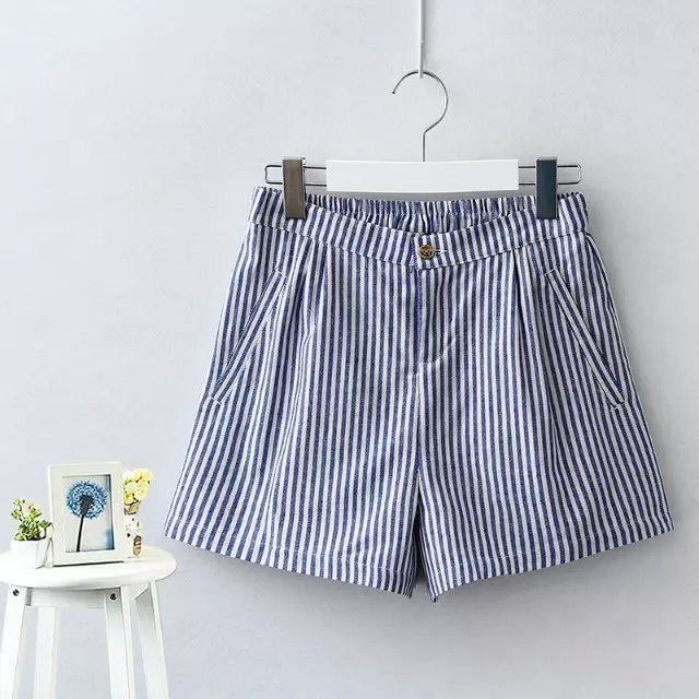 JIN27 Summer Fashion Stripe Print waist elastic Pocket ...