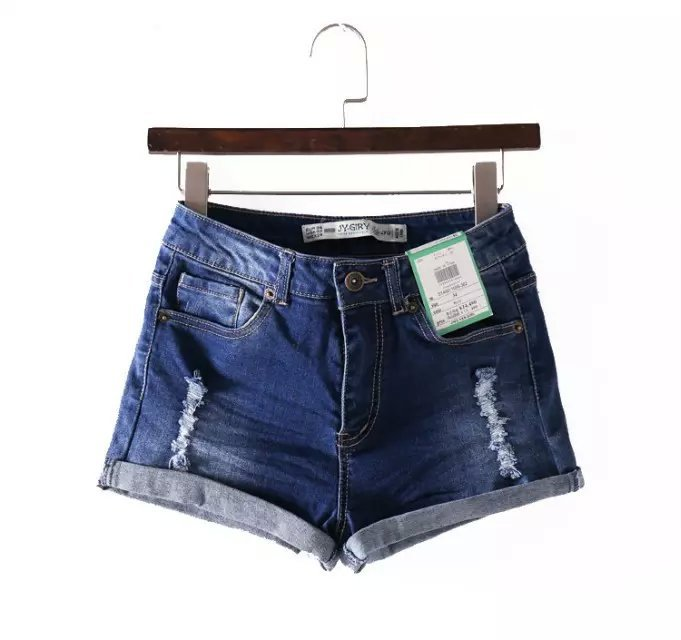 WS03 Fashion Women Vintage Denim blue hole Pocket Zipper ...