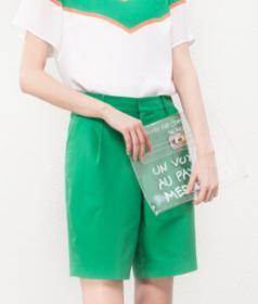 DAN15 Fashion Women Elegant casual brand Sashes Half short design zipper pocket shorts