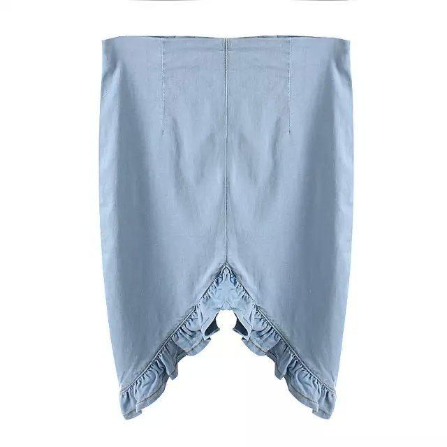 JQ132 Fashion Women Vintage Ruffle Irregular Denim Midi Skirts Blue Retro High Waist Casual Female Ms Skirt