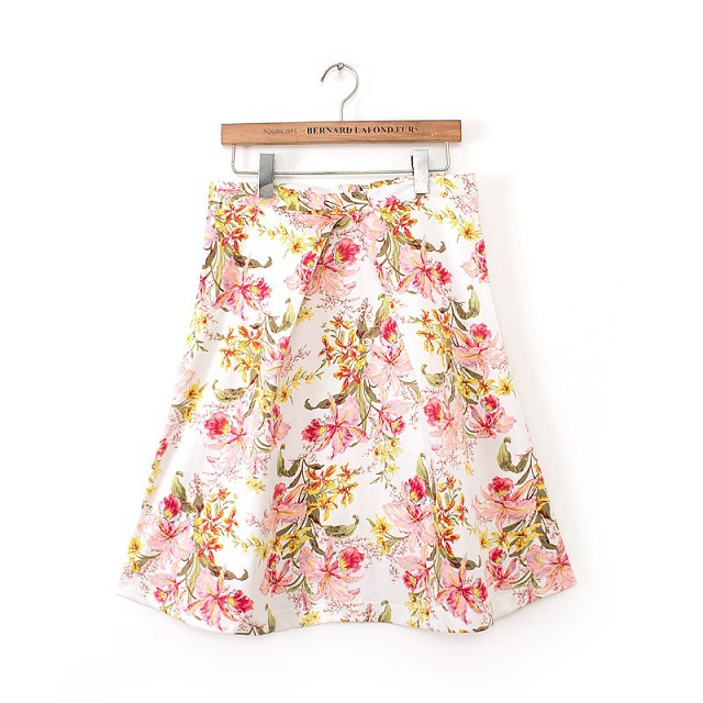 TH03 Fashion Women Sweet Spring Floral print zipper pleated Work Knee Skirt high waist casual slim brand skirts