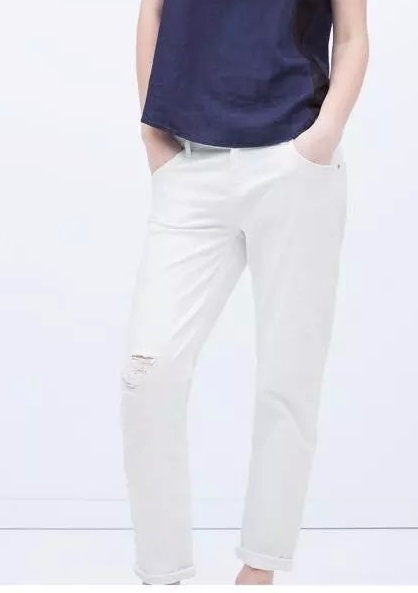 XC36 New Fashion Ladies' elegant white Denim hole Jeans ...