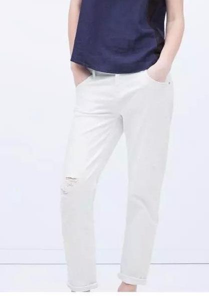 XC36 New Fashion Ladies' elegant white Denim hole Jeans ...