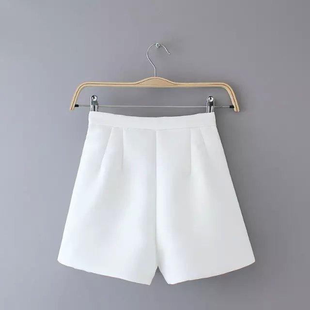 AZ23 Fashion Ladies' elegant zipper white shorts work wear office lady quality shorts casual slim shorts