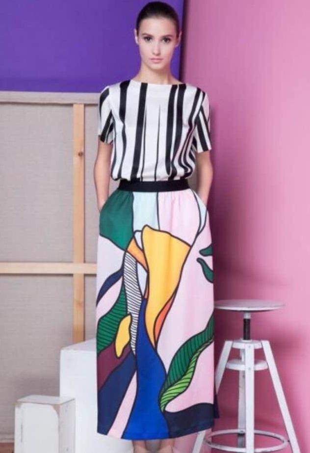 2Q14 Fashion Women Vintage Floral Print Maxi Pleated Skirts Long Retro Casual Saia Longa Female