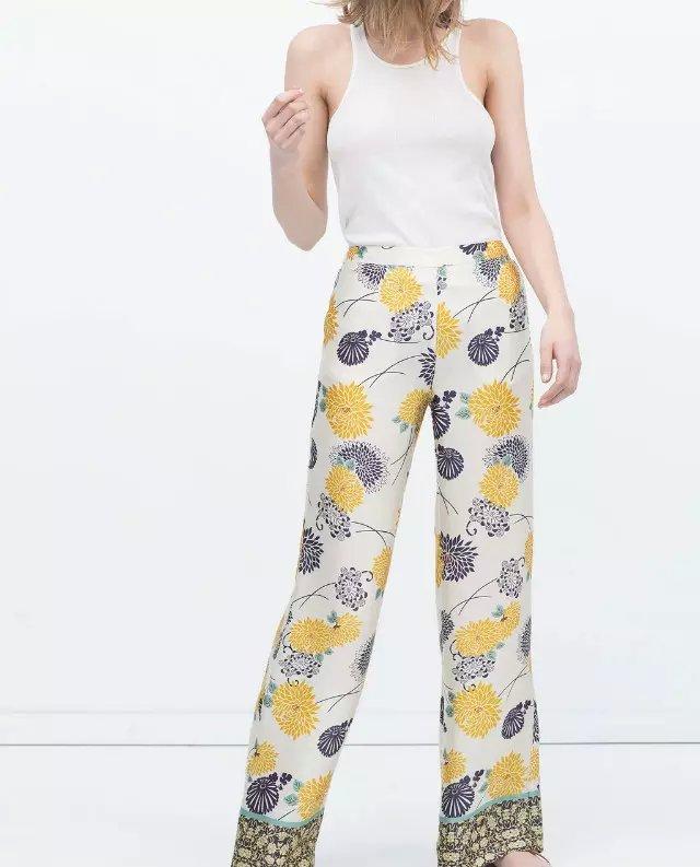 Oz50 Fashion Ladies Elegant Floral Print Pocket Satin Trousers Casual Elastic Waist Loose Brand Pants For Women Pantalones