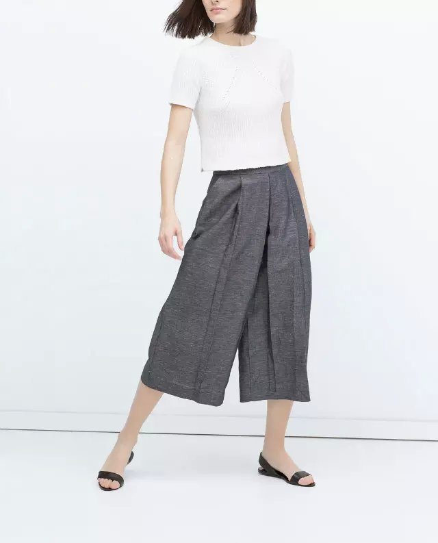 Cc33 Fashion Women Elegant Wide Leg Pants Gray Office ...
