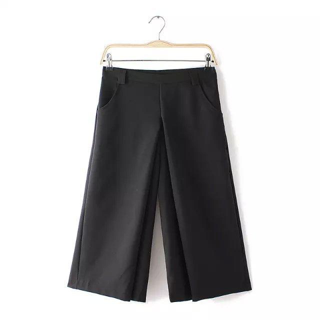 AZ56 Fashion Women Elegant Side Zipper Wide Leg Capris Cozy Loose Pockets Casual Black brand Pants