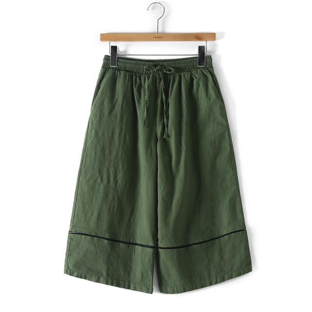 HY33 Fashion Women Cotton linen Green Wide Leg Flare ...