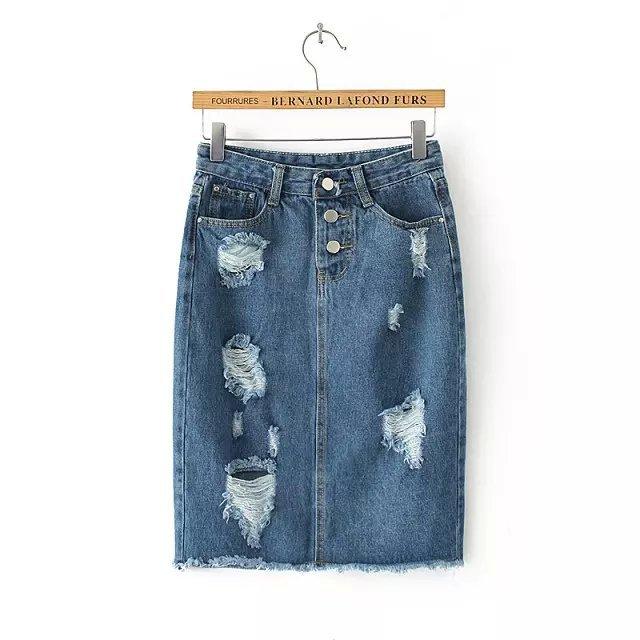 QQ10 Fashion women Blue denim Hole Ripped Pencil jeans Skirts casual Female ladies midi skirt saias feminina faldas jupe