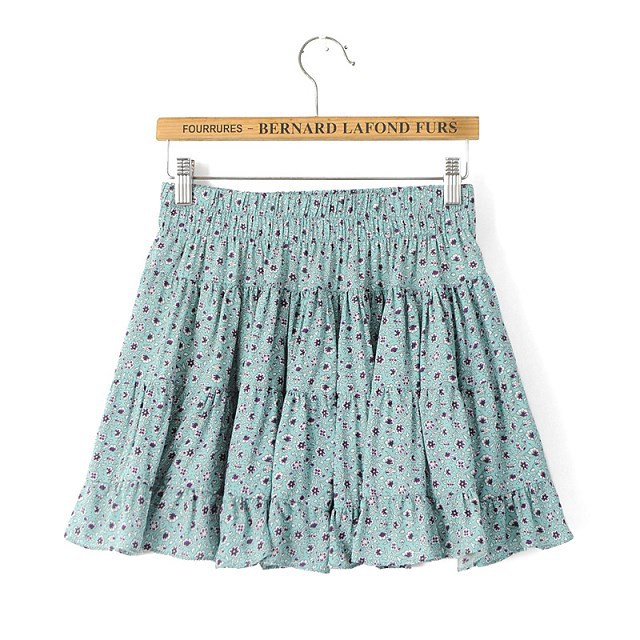 KQ69 Summer Fashion Women Floral print elastic waist Mini Pleated Skirts Casual Quality Skirt