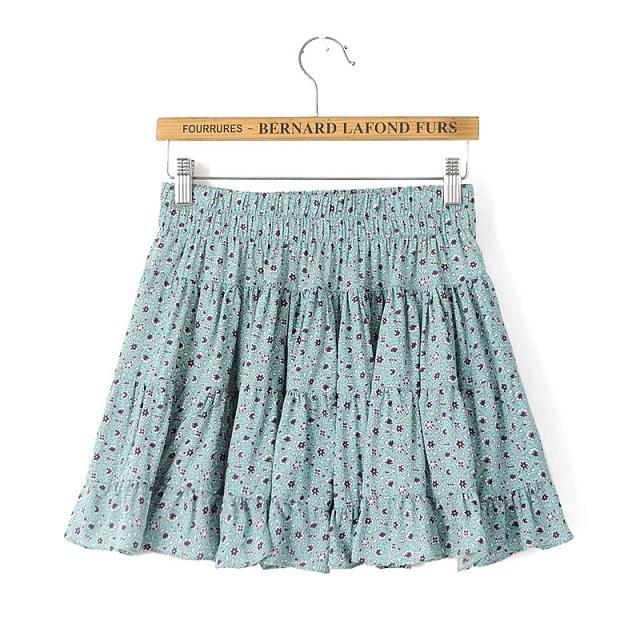 KQ69 Summer Fashion Women Floral print elastic waist Mini Pleated Skirts Casual Quality Skirt