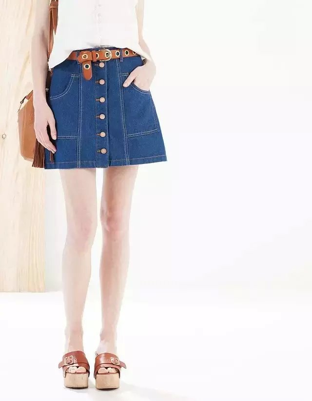 XN45 Fashion women Blue denim Pocket A-line jeans Skirts ...