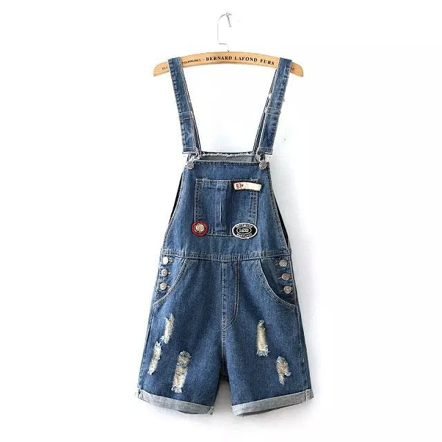 AX05 Fashion Women Elegant blue denim shorts Hole button ...