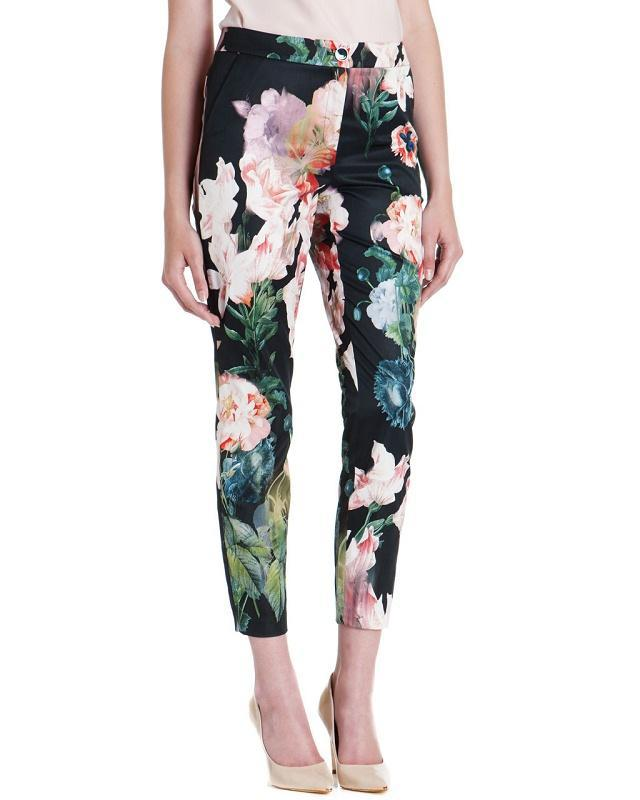 03TH12 Fashion women's vintage floral print pants cozy trouses stylish pockets pencil pants casual slim brand designer pants