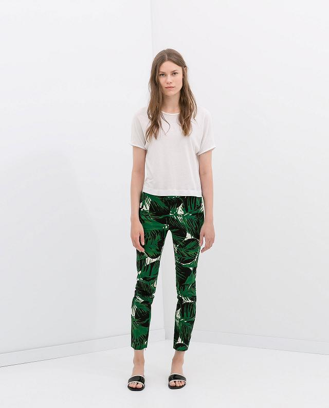 XC Fashion women green leaves print pants cozy trouses ...