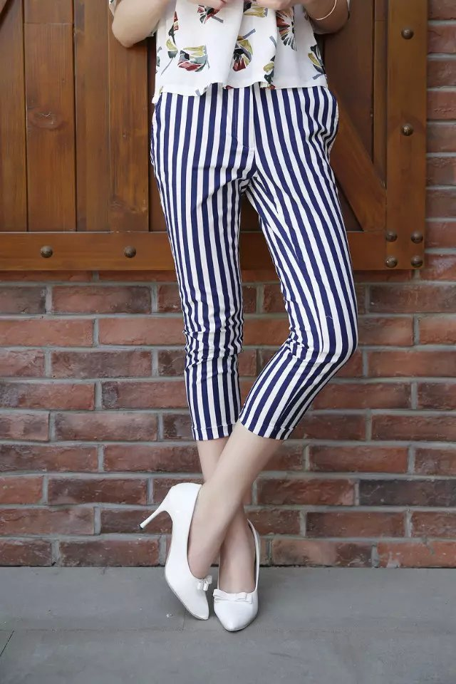 AZ54 Fashion Women Elegant Linen Stripe Print zipper ...