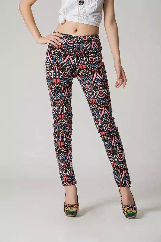 XC15 Fashion women Elegant Geometric Print pockets trousers Plus Size pencil pants casual slim brand design