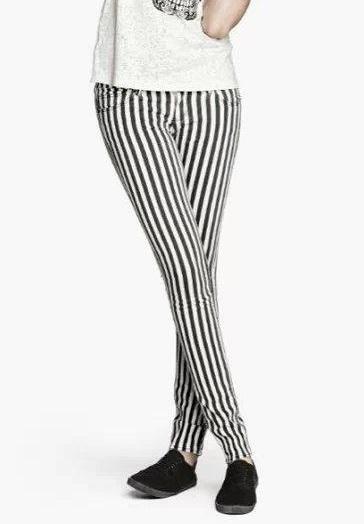XC24 Fashion women Elegant Stripe Print pockets trousers ...