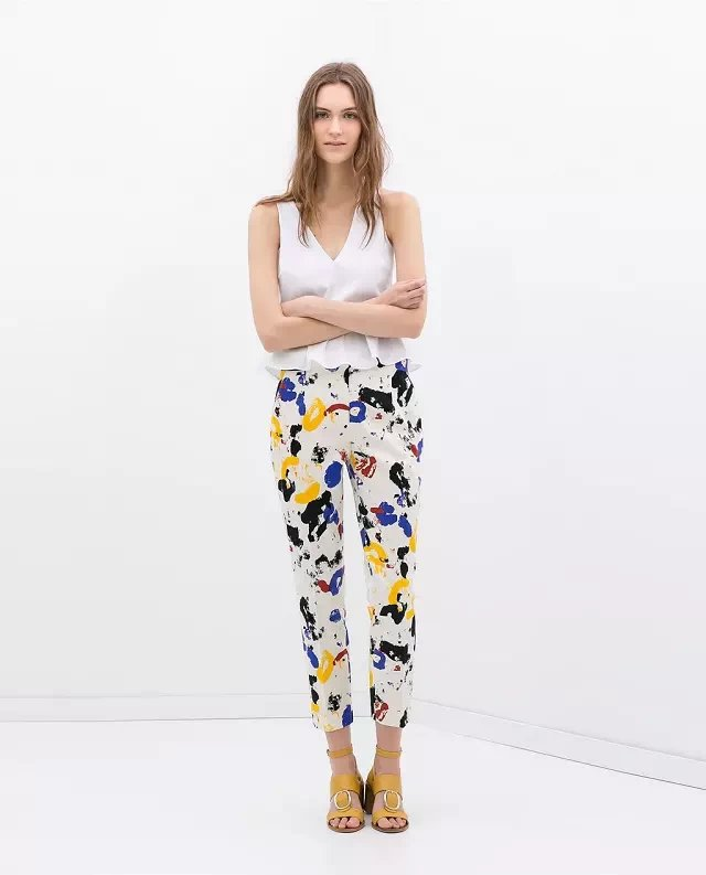 03TH01 Fashion women Elegant colored panting print pencil ...