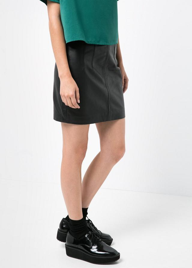 KK06 Fashion Women elegant stylish black PU leather skirts vintage quality pencil skirts casual Slim brand skirts