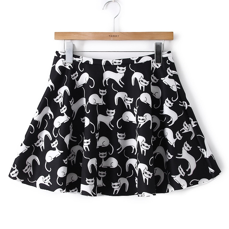 HY06 Fashion Women Elegant vintage cat black print zipper mini pleated Skirt casual slim brand skirts