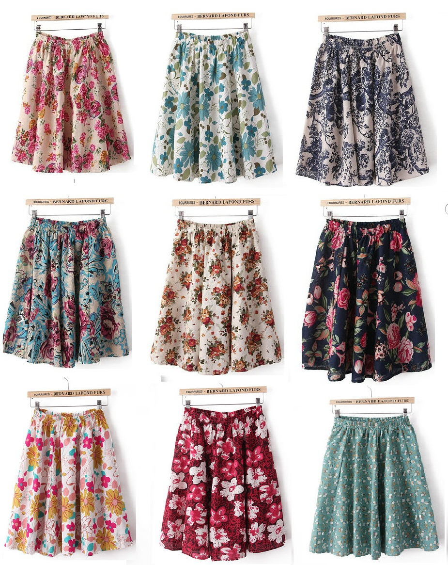 04Z03 Fashion women vintage linen floral print patchwork elastic waist Mini pleated Skirts casual quality skirts promotion