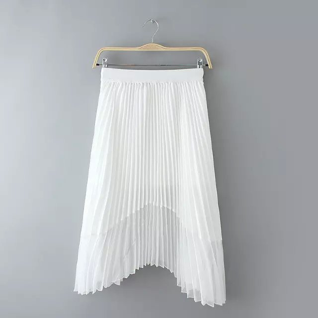 AZ42 Fashion summer women elastic waist Pleated Skirts Irregular casual slim skirt