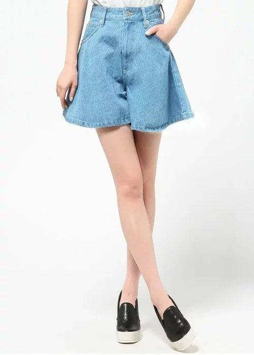 XD82 Fashion Summer Women Denim Blue Zipper pocket Casual loose Plus Size brand design Flare Shorts