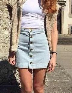 CH13 Fashion Summer Women Denim Button Skirts Casual Plus Size Casual brand designer skirts