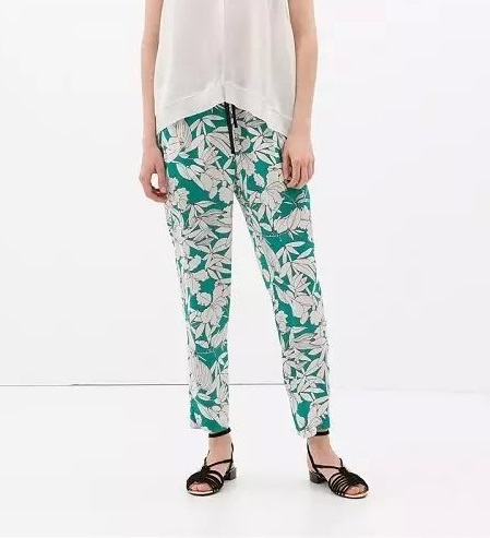 LF2 Summer Fashion women Elegant floral print Green pants Elastic Waist trousers pocket cozy vintage casual loose brand