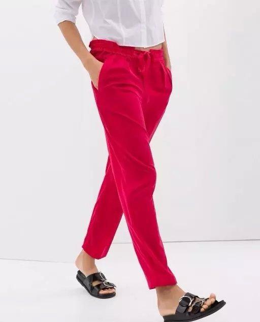 LF3 Fashion women Elegant red pants Elastic Waist Basic trousers pocket cozy vintage casual loose brand