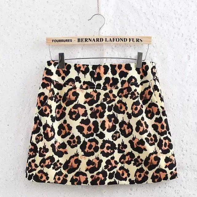 DA04 Fashion Summer Women Elegant Leopard print A-line vintage zipper pocket quality Skirts casual brand skirts