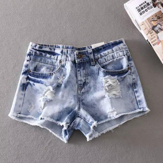 WS01 Fashion Women Vintage Denim blue hole Pocket Zipper ...