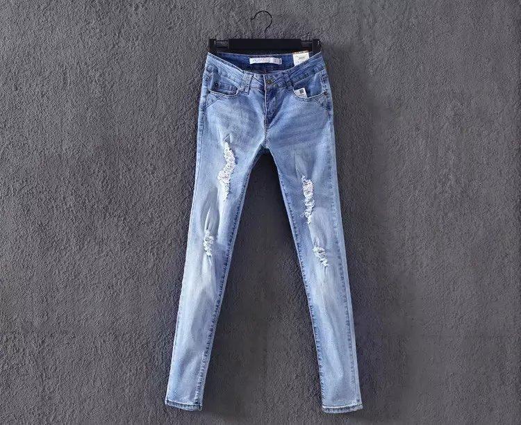 WS10 New Fashion Women Elegant holes Blue Denim jeans trousers zipper pockets Casual slim brand design pants