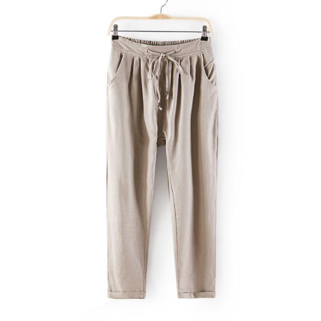 03Z04 Fashion women's Elegant linen elastic waist harem pants cozy trousers drawstring pockets casual slim brand designer pants