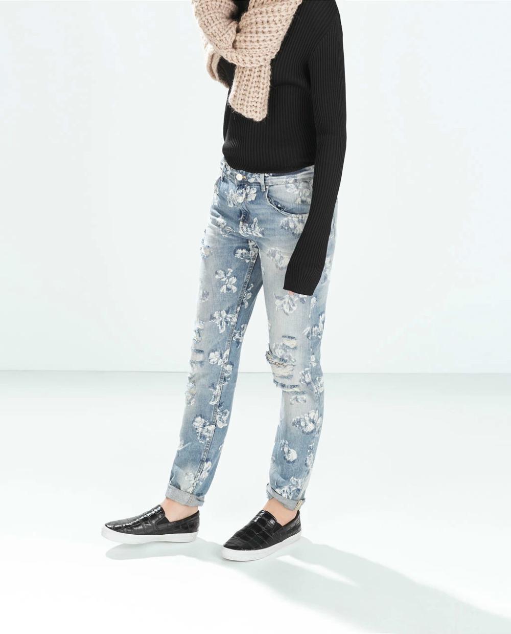 Fg12 Fashion Women Elegant Floral Print Holes Blue Denim Ripped Jeans Trouses Zipper Pockets Casual Slim Brand Skinny Pants