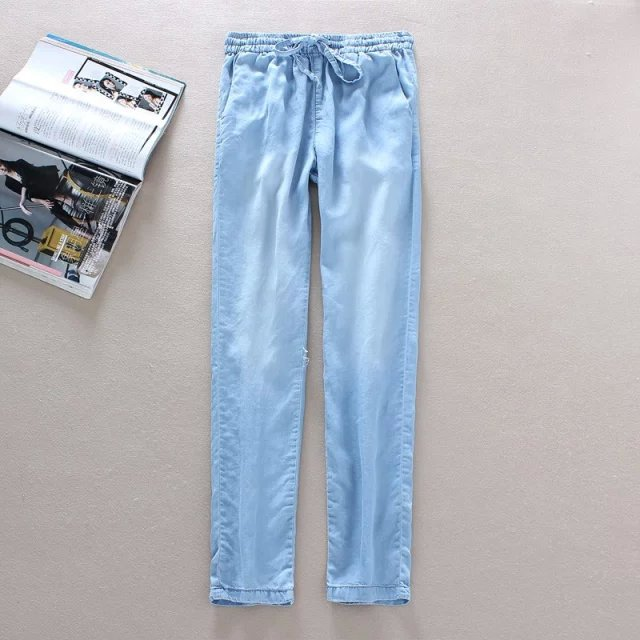 YS02 Fashion Ladies Elegant Denim blue Elastic waist ...