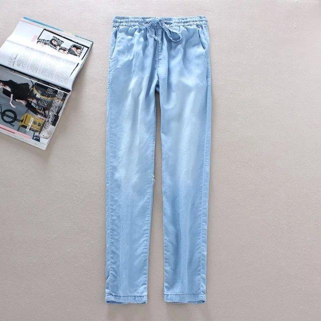 YS02 Fashion Ladies Elegant Denim blue Elastic waist Drawstring trousers pockets Plus Size brand designer pants