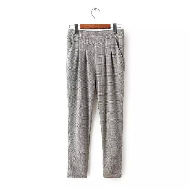 03TB05 Fashion women's Elegant plaid suit pants harem ...