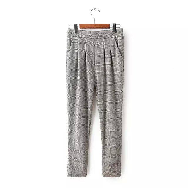03TB05 Fashion women's Elegant plaid suit pants harem ...