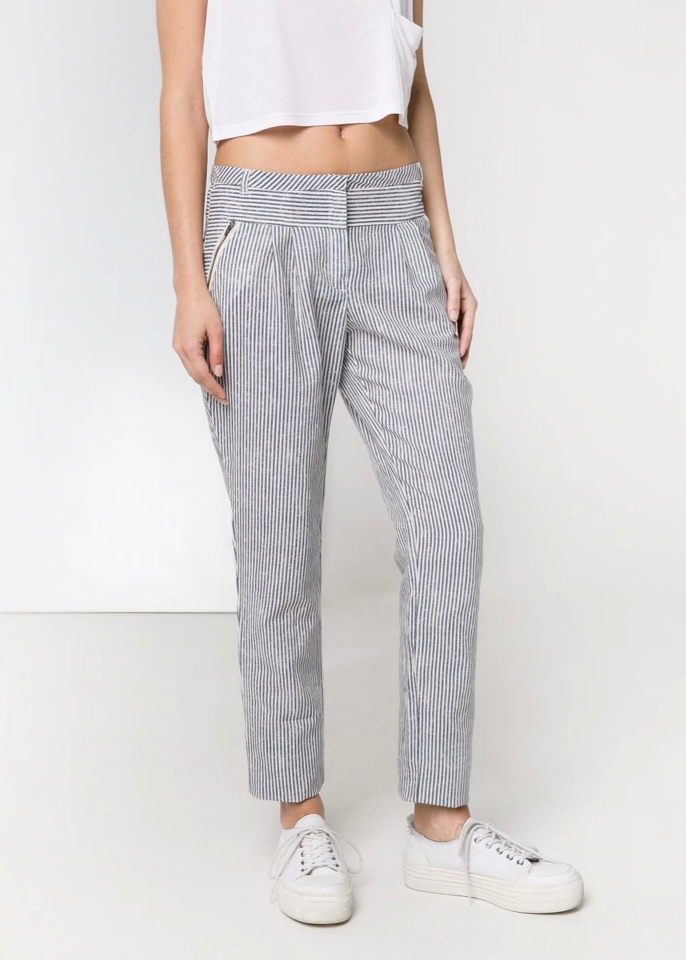 03LJ01 Fashion women's Elegant stripe cotton linen suit ...