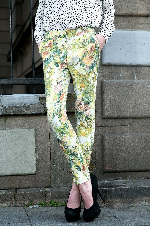03L02 Fashion women Elegant floral print pants leisure pants pockets slim trousers brand designer pants